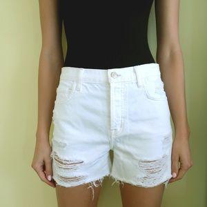 J Brand White Ivy Distressed Shorts